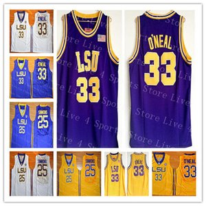 Hombre barato 33 Shaquille Oneal O Neal 25 Ben Simmon Jersey Baloncesto LSU Tigers College Team Amarillo Púrpura lejos Jerseys de deportes blancos