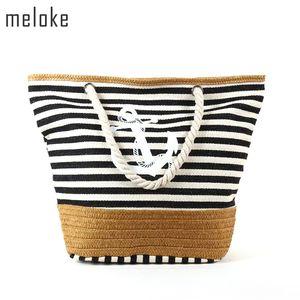 Meloke 2019 Straw Beach Stripe Imprimé Toile Sac À Main Corde Poignée Sangle Sac À Bandoulière Big Tote Mn531 J190709