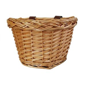Hot AD-Retro,Handmade,Wicker Bicycle Front Basket With Leather Straps ,Fashion Children'S Bicycle Front Basket