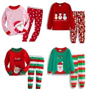 Bebek Noel Teması Suit Boys Karikatür Noel Baba Çizgili Casual Giyim Çocuk Eğlence Giyim Kız Pamuk Baskılı 06 ayarlar 25 Renkler