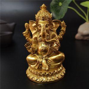 Золотой Ганеша Статуя Будды Слон Бог Скульптура Статуи Ганеша Статуэтки Смола Craft Главная Сад Горшок Украшение Будды