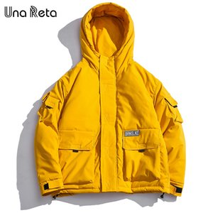 Una Reta Parka Erkekler Yeni Kapüşonlu Kış Ceket Erkekler Rahat Katı Büyük Cepler Ceket Artı Boyutu Kalın Retro Sıcak mont