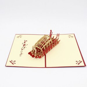 Valentines Day Gift For Men & Women Handmade 3D POP Up Wu peng boat of West Lake Greeting Cards