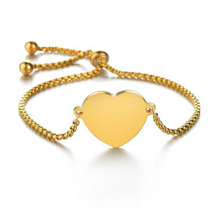 N7M7 Love Heart Bracelet Bangles Fashion Gold Color Stainless Steel Charm Bracelets for Women Jewelry Braclets 2019