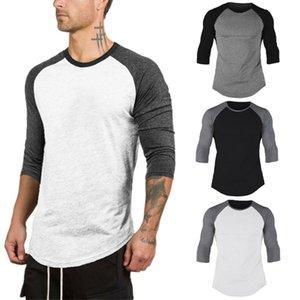 남자 3/4 소매 야구 라글란 티 저지 많은 티셔츠 승무원 목 일반 정상