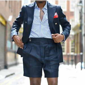Black Summer mariage Smokings hommes les costumes Linen Blazer Slim Fit 2 Pièces Groom Robe Prom Party costumes (veste + pantalon) Fait sur mesure