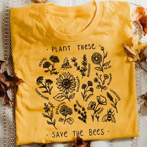 Pianta Questi Harajuku maglietta Donne causale Salva The Bees maglietta del cotone Fiore di campo Graphic Tees Donna Unisex Clothes Drop Shipping