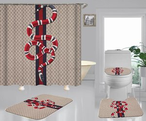 클래식 스트라이프 뱀 인쇄 욕실 세트 카키 전체 문자 샤워 커튼 화장실 발 커버 욕실 물 흡수 매트
