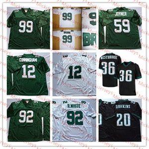 Para hombre de la vendimia Randall Cunningham jersey del fútbol de 20 Brian Dawkins 36 Brian Westbrook 59 Seth Joyneri 92 99 Reggie White Jersey Brown Jerome
