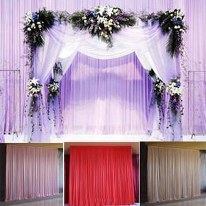 الحرير لوحات الستائر شير معلقة حزب ستائر خلفية مناسبات الزفاف الستارة الكبيرة القماش الأحداث الخلفية 5 الألوان 2.4X1.5m