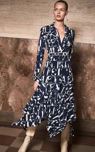 86 2019 Autunno Spedizione gratuita Marca SAme Style bavero collo manica lunga moda abito stampa lusso abito AS