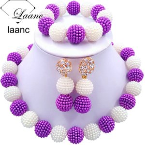 Laanc Latest African Purple and White Beads Jewelry Set for Women Nigerian Wedding Necklace AL699