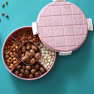 Hogar sala de estar de doble capa Snack-plato de fruta plato de postre el plato de fruta Bocado simple placa redonda de almacenamiento de alimentos envase de la caja