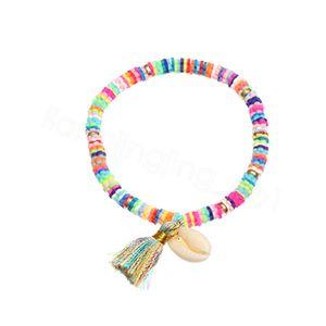 Bohemian shell pulseira estilo nacional pulseira borla anel colorido suave cerâmica charme Wristlet para a festa de meninas senhora favor FFA4143-4