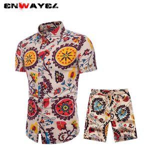 ENWAYEL 2019 Spring New National StShirts Shorts Hombres Set Beach National Style Print Casual Camisa de manga larga Chándal Traje Hombre