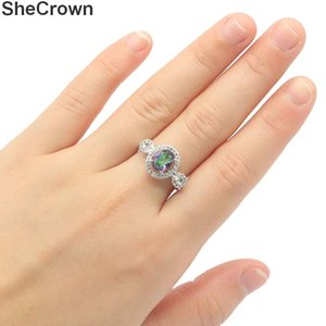 20x12mm SheCrown Pretty Created Fire Rainbow Mystic Topaz White CZ Gift For Ladies Silver Rings