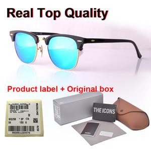 Qualité supérieure charnière en métal Marque Designer lunettes de soleil de femmes d'hommes cadre semi-Rimless lentilles en verre miroir Cat lunettes de soleil avec des yeux cas et l'étiquette