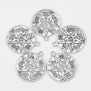 Tetragrammaton Plata Tılsım Pentagram Pagan Wiccan Tılsım Charms Kolye Alaşım Gotik Muska Vintage Gümüş Takı Için Bilezik