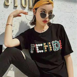 2019 Yeni Kadın T Gömlek Moda Boncuk Mektubu Desen Kısa Kollu Yuvarlak Boyun Komik T Gömlek Casual Yaz Kadın Tees Tops