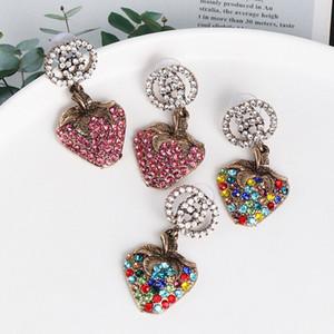 Mulheres Rhinestone Morango Brinco Vintage Fruit Morango Brinco de jóias presente para Love namorada 2 cores