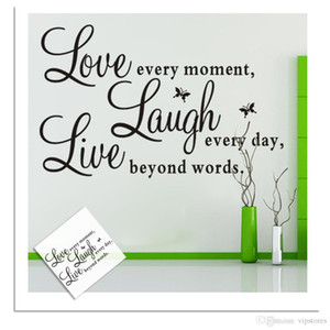 Rimovibile fai da te vivere ridere amore vinile wall art sticker inspirational parole wallpaper live love laugh stickers murali adesivi home decor murales