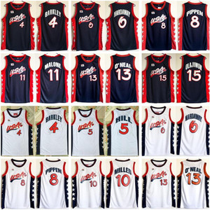 1996 EUA Basketball Jersey Dream 4 Charles Barkley 6 Penny Hardoway 8 Scottie Pippen Hoakeem Olajuwon 13 Shaquille Oneal American Mar Navy Branco