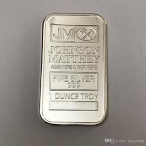 6 pcs Le Johnson Matthey JM Morgan BADGE 1 argent OZ plaqué 50 mm x 28 mm barre de décoration de pièces de monnaie américaine avec numéro de série différent