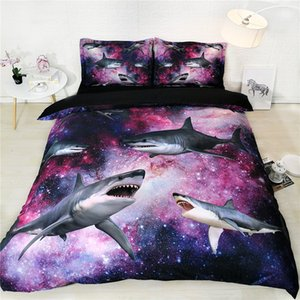 Rose Bleu Galaxy Bedding Violet Galaxy Housse de couette double requin Couvre-lit pour les garçons Lit Hommes pleine Reine Couvertures Size Set For Men