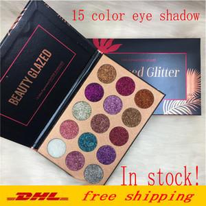 Schönheit glasierte Glitter-Einspritzungen gepresste Glitter-Augenschminke-Diamant-Regenbogen-Make-upkosmetik 15 Farben-Lidschatten-Magnet-Palette DHL