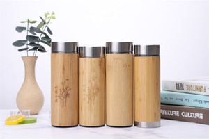 Natürliche Bambus Tumbler 350ml Edelstahl-Liner Wasserflasche Isolierkannen Isolierflaschen Kaffeeteebecher Bamboo Cup