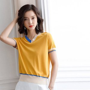 Thin Sweater Women's V-Neck Sweater Female Spring Autumn Loose Pullover Casual Bright silk Solid Sweaters Female