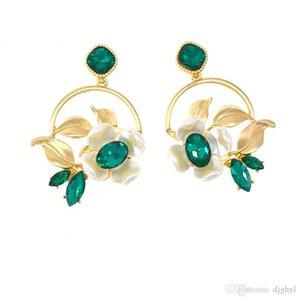 new elegant big circle flower ladies earrings fashion green crystal flower earrings for women girl birthday gift