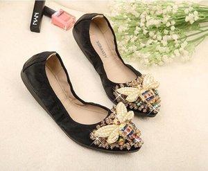XGRAVITY Bee Designer Kristallfrauen-große Größen-flache Schuhe Elegant Komfortabel Lady Mode Strass Frauen weiche Mädchen Schuhe n095