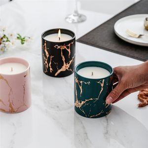Marbre Marbre Or Bougie parfumée Motif Céramique Bougie INS Aromathérapie Bougies Décoration d'intérieur Valentin bougie cadeau