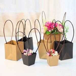 Saplı Çiçekçi Hediye Sevgililer günü Bag İçin Çiçek Su geçirmez Çiçek Buket Sepeti İçin Katı Renk Kraft Kağıt Çanta
