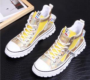 İlkbahar Sonbahar Yüksek Üst Hip Hop Sneakers Erkek Gençlik Eğilimleri Boş Ayakkabı Slip Lüks Erkekler Moda altın Günlük Ayakkabılar