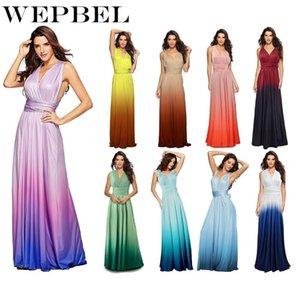 WEPBEL partido do vestido sem mangas das mulheres vestidos longos V-neck Multi-método Cruz-back Halter Sexy Bandage Gradiente Maxi Vestido Vestidos