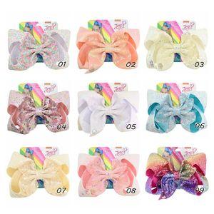 8inch Glitter sirène flip sequin Big Bow Hairpin Baby Girls Gradient Paillette Barrettes enfants Bling Accessoires cheveux Barrette