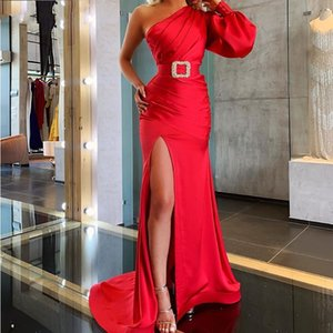 2020 Sexy High Split Evening Dress Satin Mermaid Women Party Dresses One Shoulder Long Sleeve Red Prom Dress