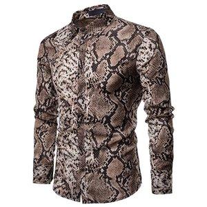 Moda Yılan Tasarım Sahne Erkekler Gömlek Bluz erkek Giyim Slim fit Erkek Gömlekler Uzun Gri Koyu sarı