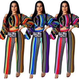 Para mujer diseñador de ropa de verano con rayas, ropa deportiva de 2 piezas de manga larga camiseta top legging sueltos pantalones largos sueltos jogger suit 871