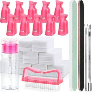 Nail Polish Gel Remover Tools Kit With Nail Clips 100Ml Nail Polish Remover Bottle Remover Cotton Pad Brush Cuticle Pusher