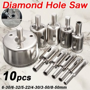 10PCS set 8-50mm Diamond Coated Core Hole Saw Drill Bits Tool Cutter For Tiles Marble Glass Granite Drilling