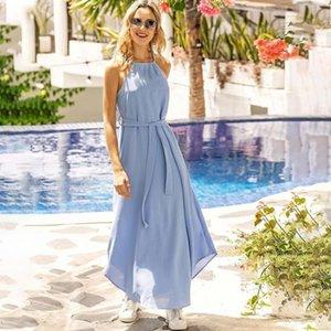 2020 Yeni Plaj Gevşek Boş Bayan Elbise Yaz Katı Renk Pileli şifon Kolsuz Kuşaklı Akşam Partisi Modelleri Kadın Giyim