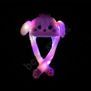 Işık Şapka Yetişkin Çocuk Noel Sıcak Şapka ZZA1430 Hareketli Tavşan Kedi Tavşan Kulak için 26 Stiller Led peluş karikatür Hayvan Cap