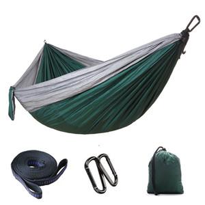 DHL libero all'aperto paracadute panno Hammock di campeggio pieghevole altalena appesa Bed nylon Hammocks con corde Moschettoni 8 colori G673F all'ingrosso