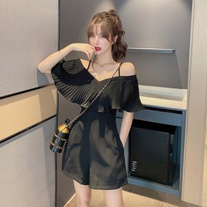 Jumpsuit women 2020 summer new word shoulder casual high waist wide leg pants loose thin shorts T200704
