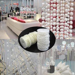 Grossiste-L1098MM perles de brin en plastique fausse perle sur un métier de ficelle roulent deux couleurs