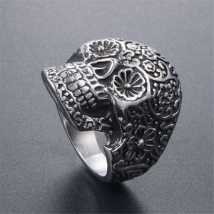 Punk Gothic Men Stainless Steel Skull Finger Rings Retro Pattern Korea Trendy Accessories Vintage Style Ornaments 577