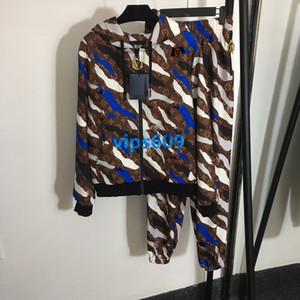 donne ragazze activewear Giacca maniche lunghe Camouflage monogramma con la lettera cappotto stampa ed elastico pantaloni a vita casuali pantaloni tuta